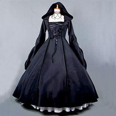 venta+steampunk®top+negro+gótico+vestido+encapuchado+vestido+victoriano+larga+disfraz+de+Halloween+–+EUR+€+103.28
