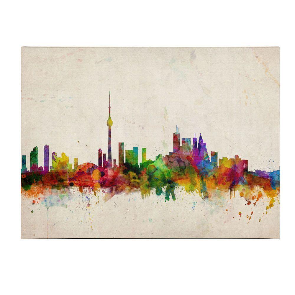 Trademark Art Toronto Skyline By Michael Tompsett Painting Print On Wrapped Canvas Art Toronto Skyline Art Toronto Skyline
