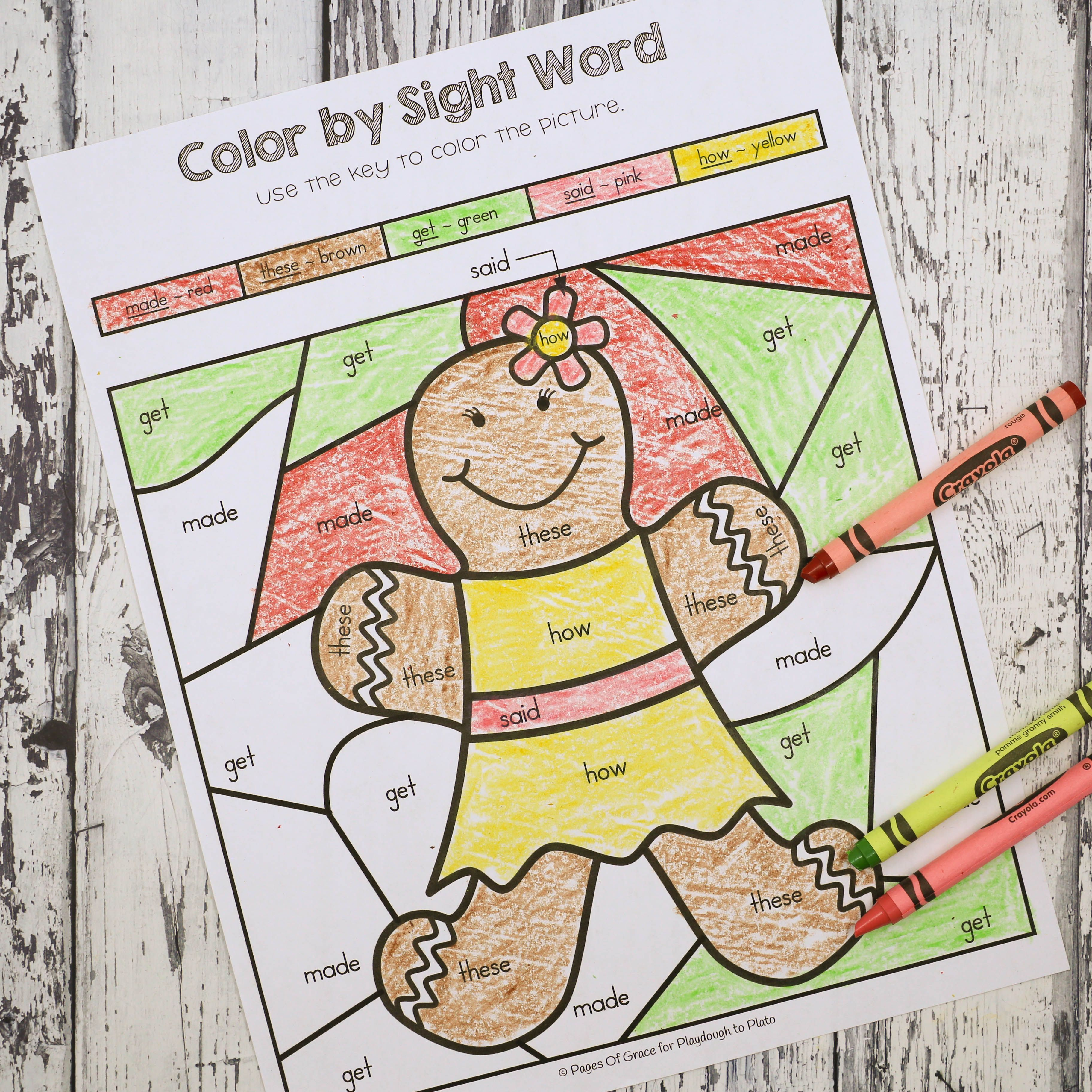 Gingerbread Color By Sight Word