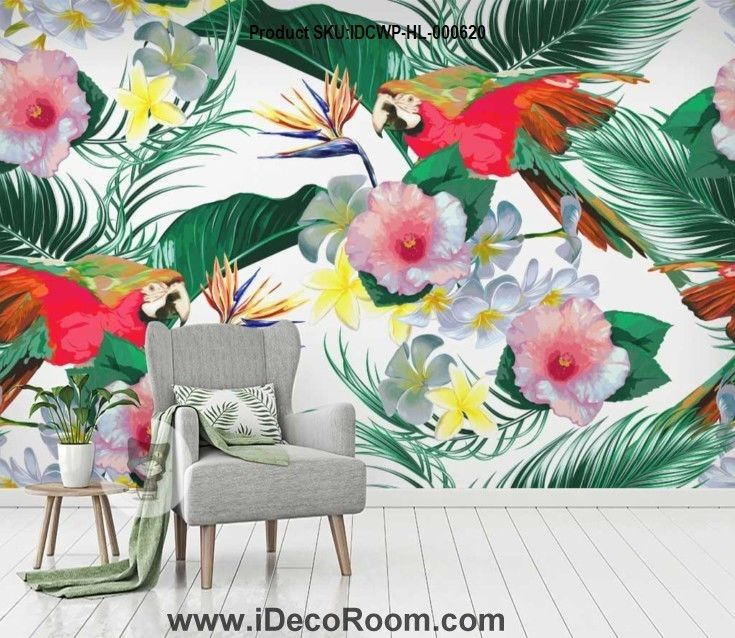 Accent Wall Touch Of Tropical: Tropical Flowers Plants Rainforest Wallpaper Wall Murals