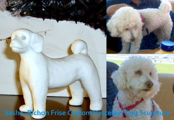 Bichon Frise Custom Dog Sculpture  SASHA  Reserved for by MudPups, $75.00