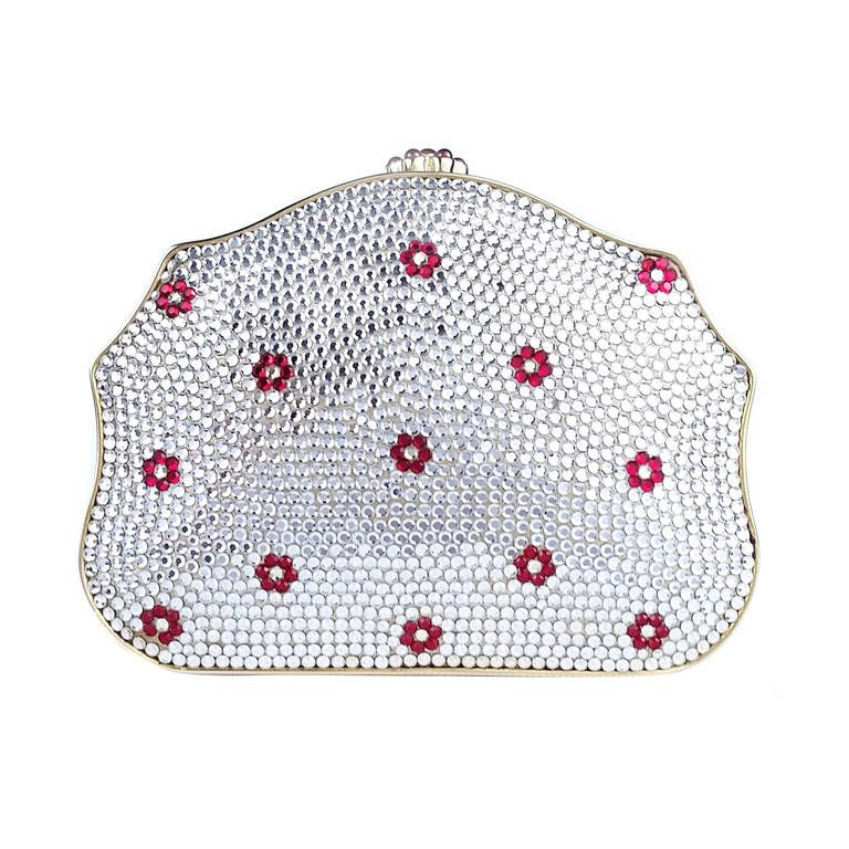 Judith Leiber Swarovski White Crystal and Red Crystal Flowers Minaudiere | 1stdibs.com