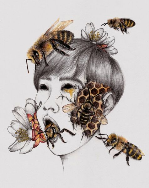 Peony Yip, The White Deer. #art #illustration #insect #disease #bee #asian