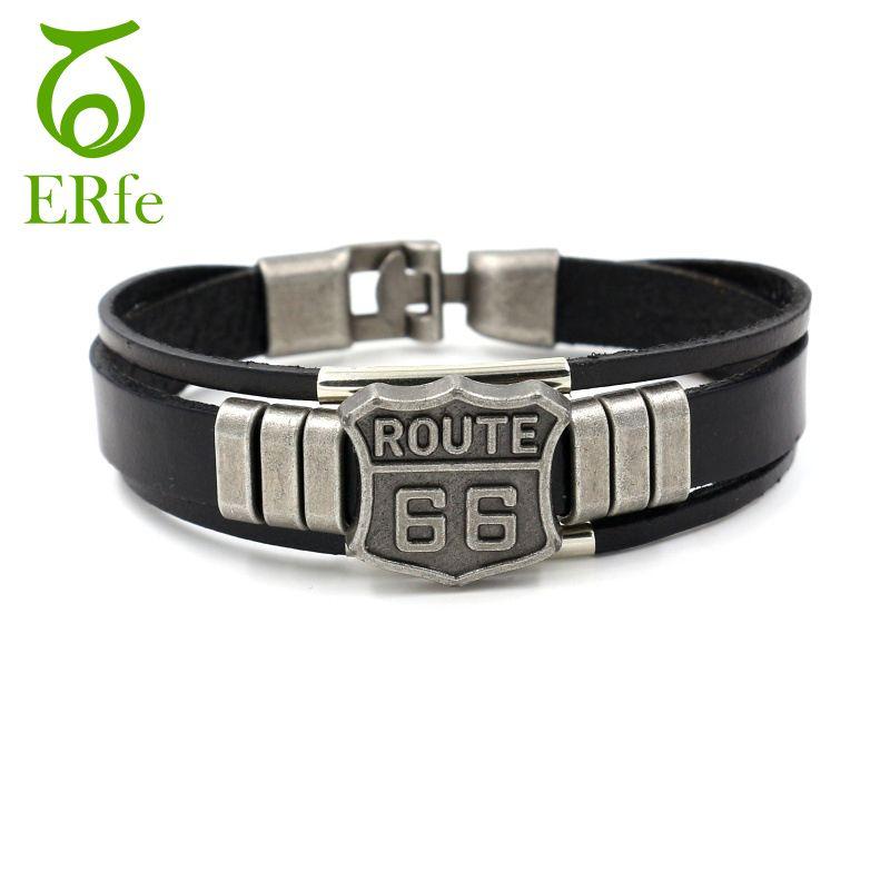 ER Male Rock Ethnic Bracelet Men Genuine Leather Hand Bracelet Female Armband Braslet Man Motor Route 66 Jewelry LB240 #Affiliate