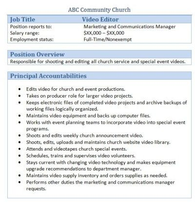 Sample Church Employee Job Descriptions Things To Know Pinterest