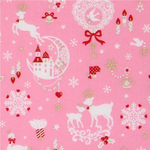 pink kawaii Christmas fabric Bambi bunny glitter Japan | Kawaii ...