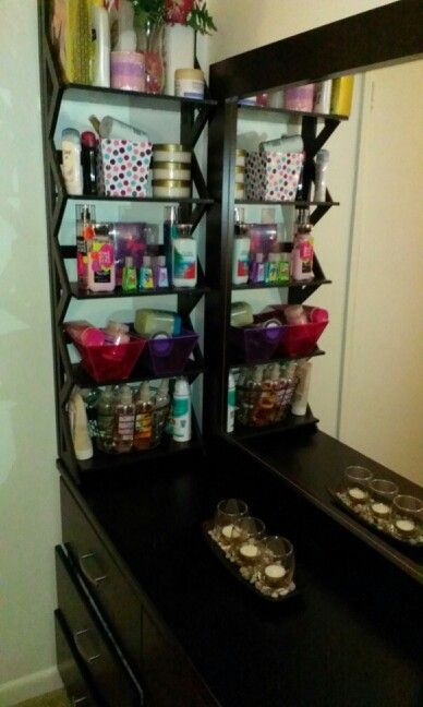 Neat Way To Keep Your Perfumes Lotions And Other Hygiene Products From Cluttering U Bedroom Organization Diy Bedroom Dresser Organization Dresser Organization
