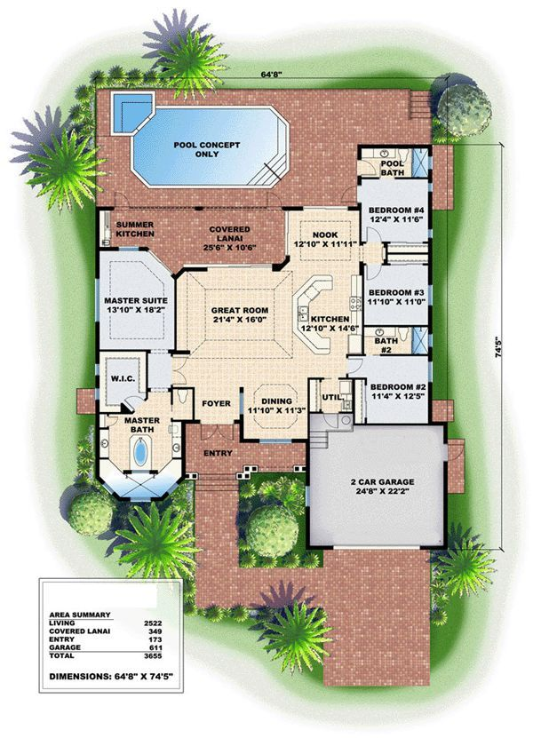 Image Result For One Story House Plans That Include A Swimming Pool Mediterranean Style House Plans New House Plans House Blueprints