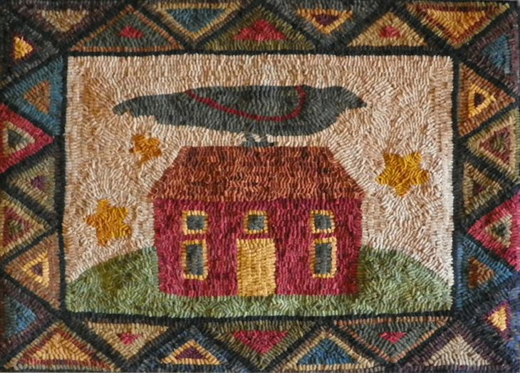 Crow house hooked rug, hooked by Amy of NH. Pattern by Teresa Kogut. #rug #hookedrug #crow #house
