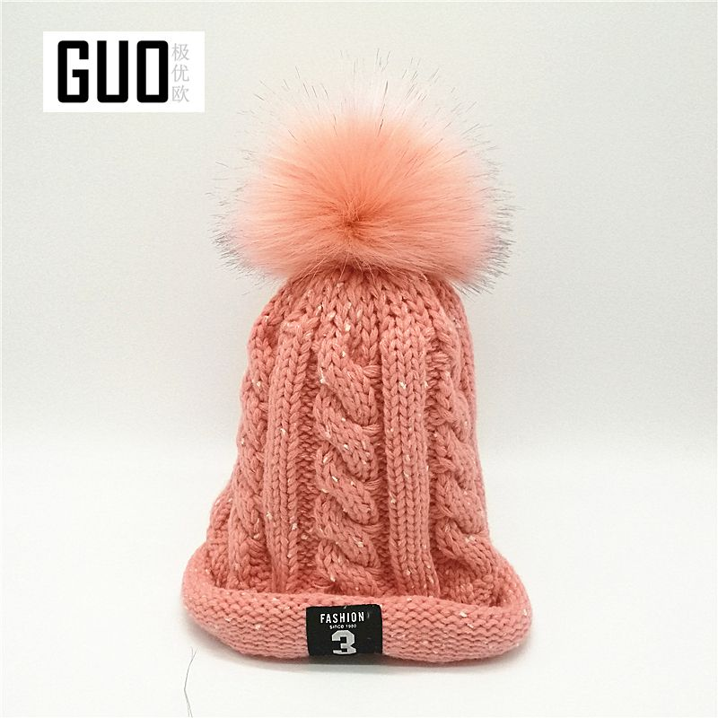 b3fd1bea0dd new knit hat double thickening wool cap plus velvet pea hair ball warm lady  chance 3