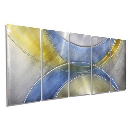 Jon Allen Fine Metal Art Beautiful Abstract Blue Silver And Golden Yellow Contemporary