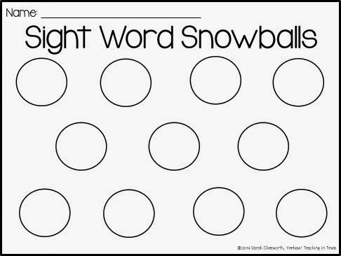 Sight Word Snowball FREEBIE sight word ideas Pinterest - copy personal letter format in word