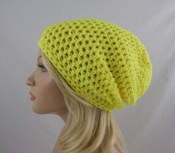 Neon Yellow Slouchy Beanie Womens Bright Hot Yellow Crochet Slouch