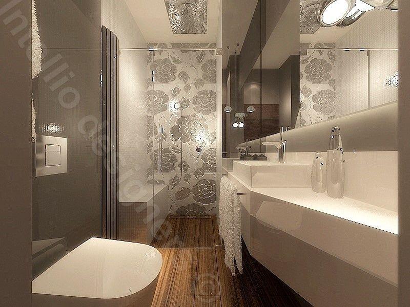łazienka Płytki Ze Wzorem Kwiatowym Duże Panoramiczne Lustro