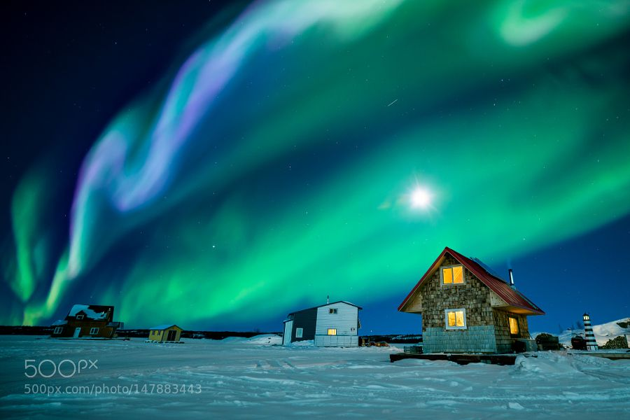 An amazing night at Great Slave Lake by KenPhung. @go4fotos