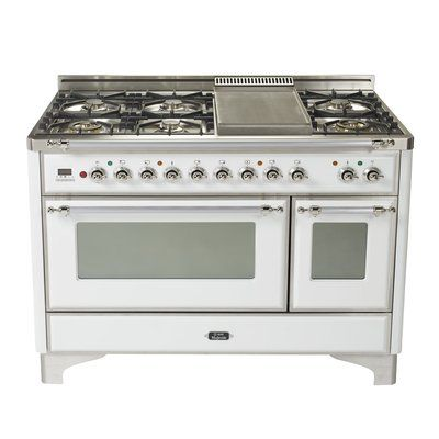 Ilve Majestic 48 Free Standing Dual Fuel Range With Griddle Finish True White Gas Type Liquid Propane Dual Oven Range Cooker