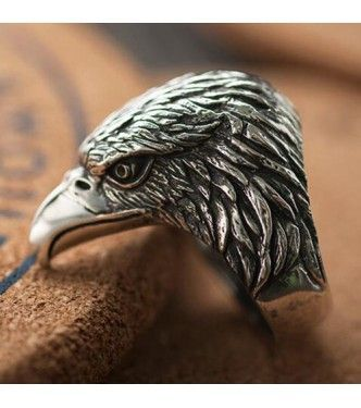 Mens Sterling Silver Eagle Head Ring