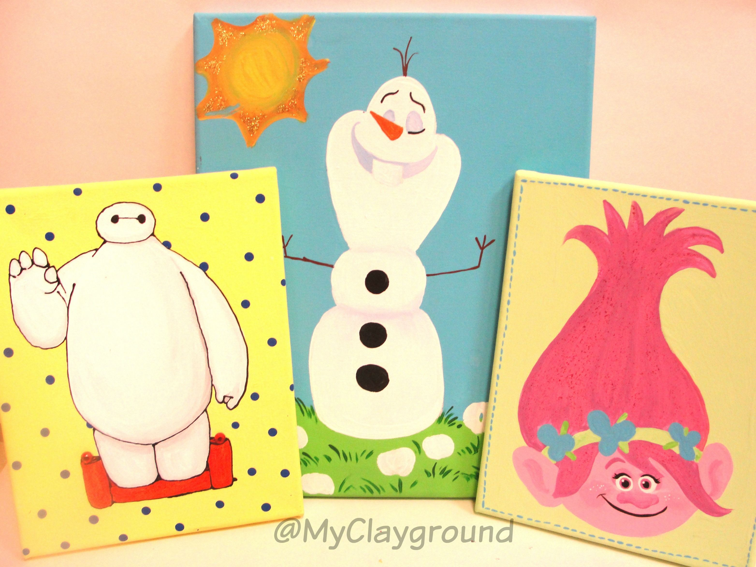 Disney Olaf Baymax Trolls Canvas Painting | Canvas Projects | Pinterest
