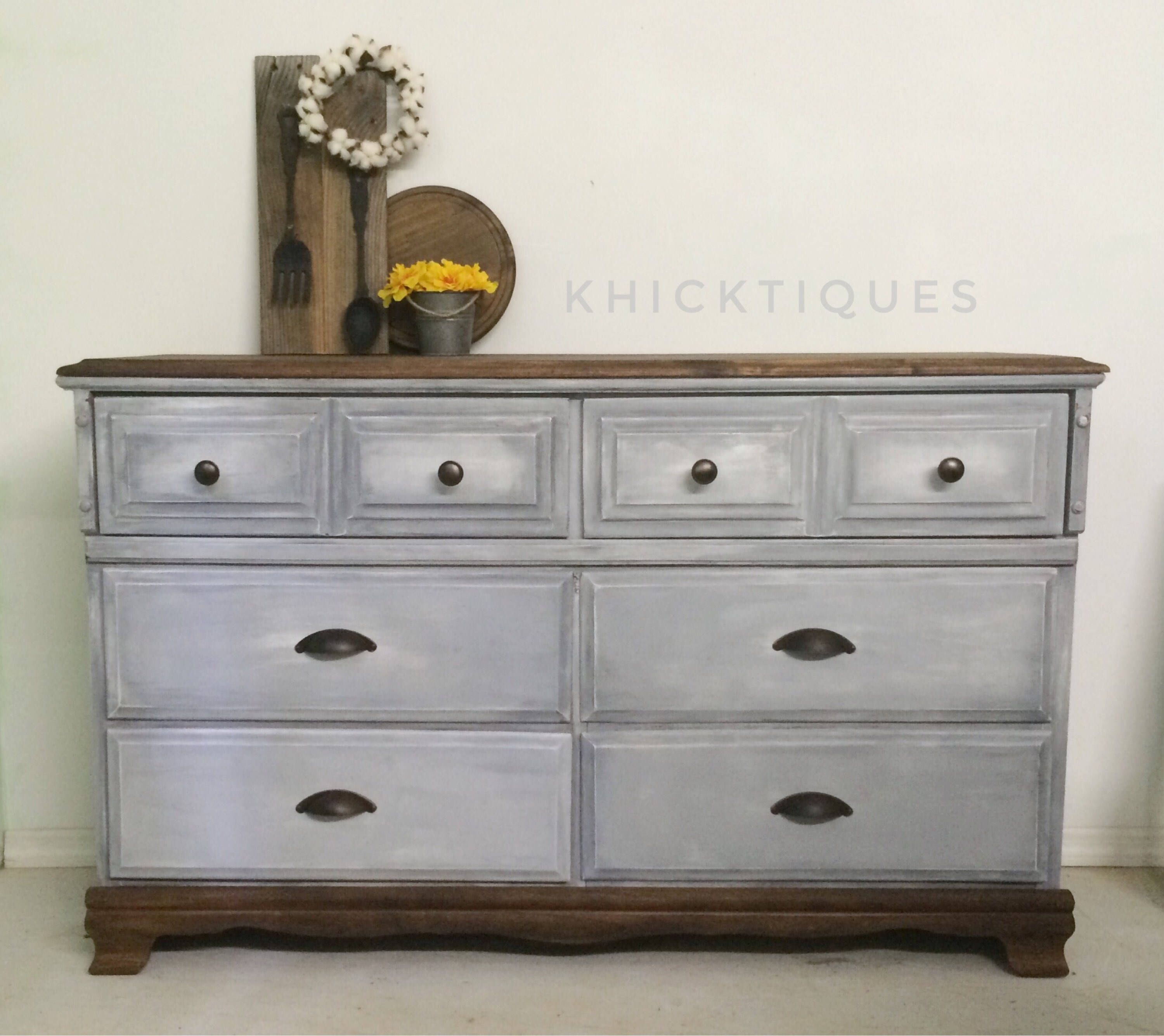 Gray Dresser, Distressed Vintage 6 Drawer Solid Wood Grey Bedroom