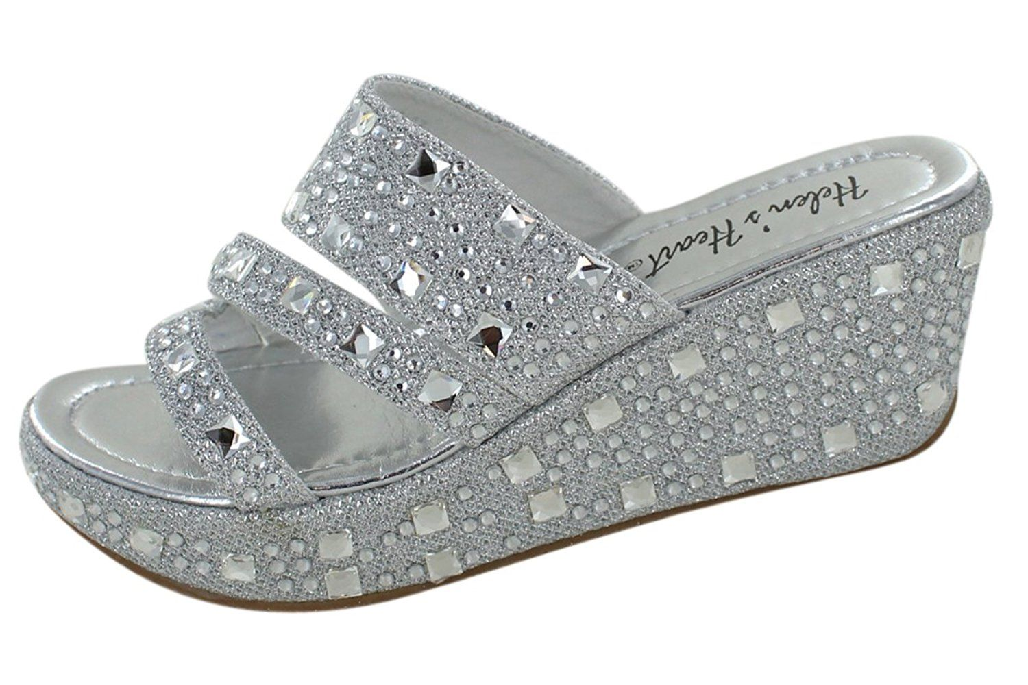 c87134acdc4 Women s Bling Sparkle Slide Wedge Sandal Gold Silver     Details can be  found by clicking on the image.