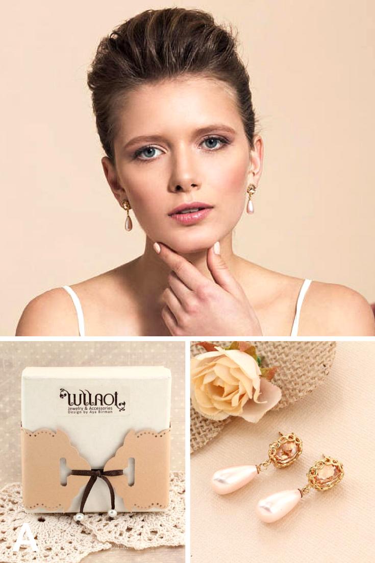 Pink wedding earrings peach pearl earrings champagne bridal