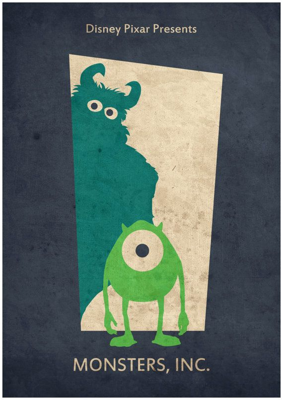 Items similar to Monsters Inc - Minimalist Disney Pixar movie poster, Minimalist Retro Poster, Movie Poster, Art Print on Etsy