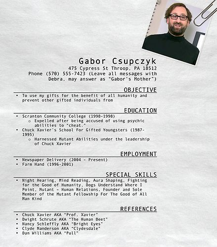 gabor csupczyk s resume the office theoffice resumes