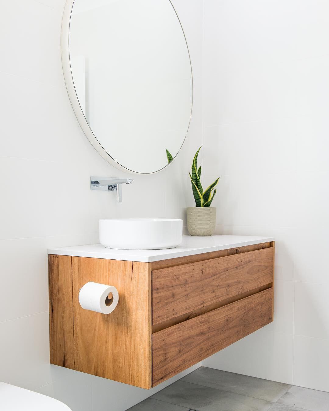 Round Mirror Oak Floating Vanity Grey Floor Floating