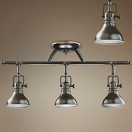 Kichler Olde Bronze Halogen Swivel Ceiling Fixture 32076 Lamps Plus Track Lighting Fixtures Ceiling Fixtures Modern Track Lighting