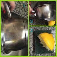 dica para tirar manchas de queimado das panelas de inox: limão e esponja