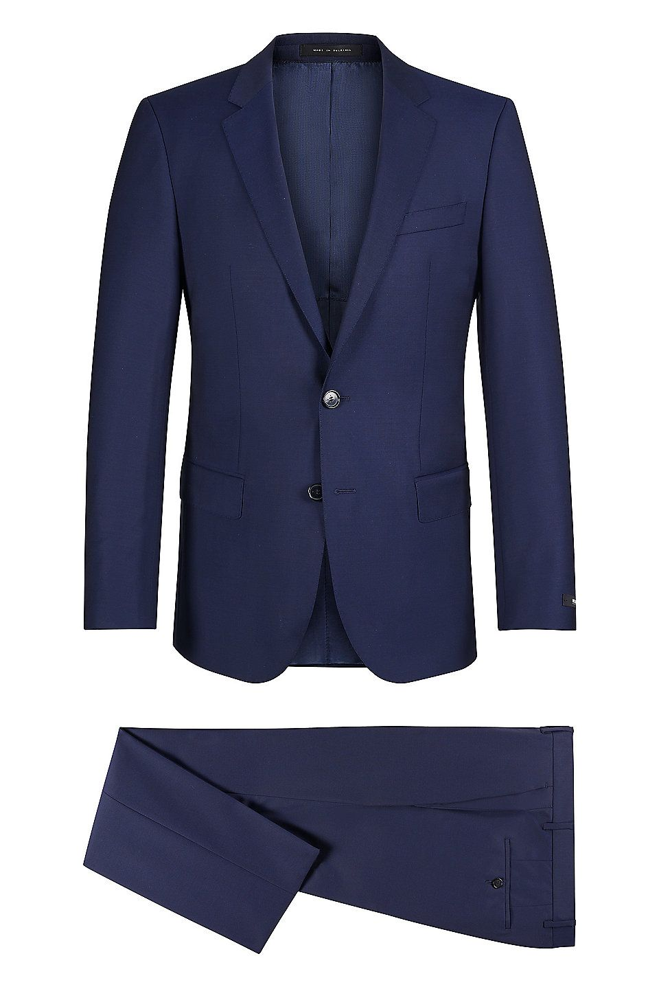 193466450 Italian Super 110 Virgin Wool Suit, Slim Fit | Huge/Genius Dark Blue from  BOSS for Men for $795.00 in the official HUGO BOSS Online Store free  shipping
