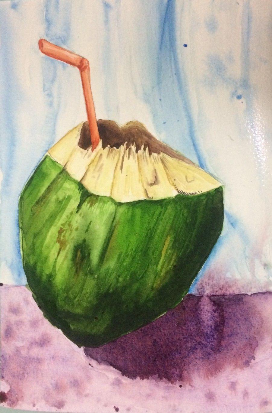 Watercolor Coconut Art Painting Watercolor