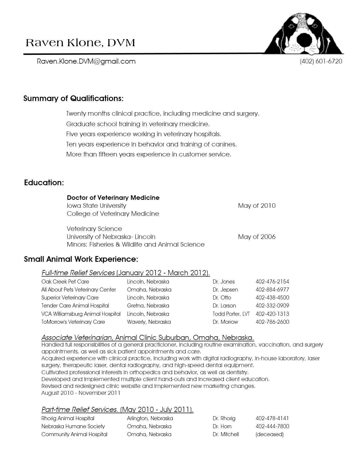 Animal Care Assistant Sample Resume Awesome Resume Examples Veterinary Receptionist  Resume Examples .