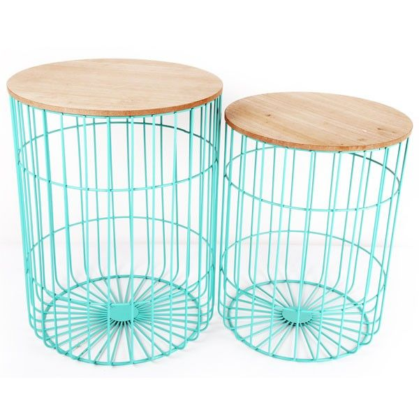 Teal Japanese Table Set - wire side tables - Temerity Jones ...