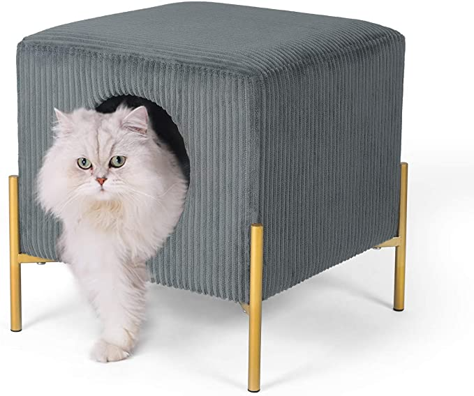 Amazon Com Joveco 15 9 Cat Beds Cat Cave With Upholstered Top Removable Padding 2 In 1 Cat Ottoman Cube Foot Rest S Living Room Grey Modern Cat Cat Condo