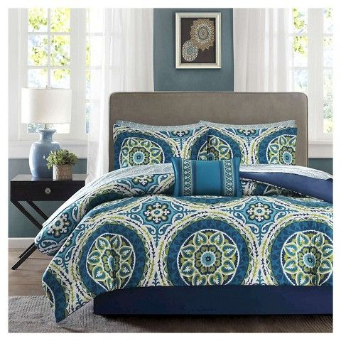 Blue Nepal Medallion Complete Multiple Piece Comforter Set King 9 Piece Complete Bedding Set Comforter Sets Twin Comforter Sets