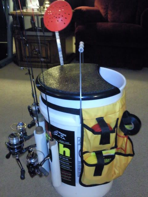 Custom bucket ideas set one up and use as a seat while for Fishing bucket seat