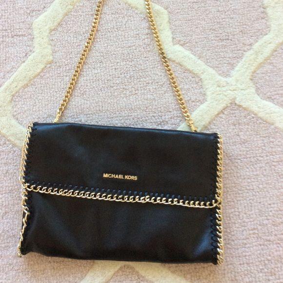 292c2326f92eda ... Clutch Michael Kors Black Gold bag Make a statement with this Beautiful  MK black leather bag ...
