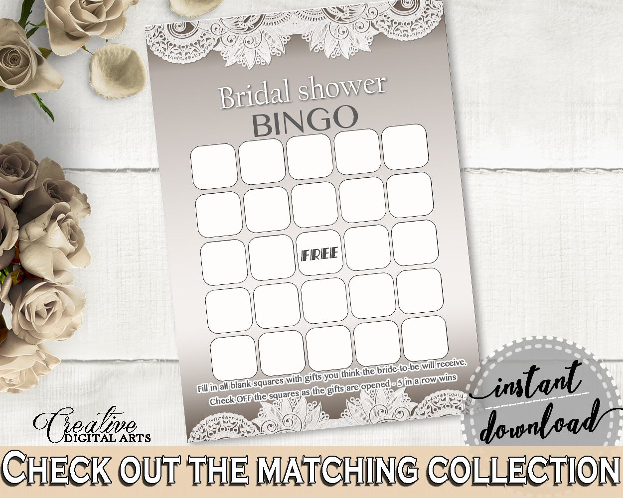 Bingo Gift Game in Traditional Lace Bridal Shower Brown And Silver ...
