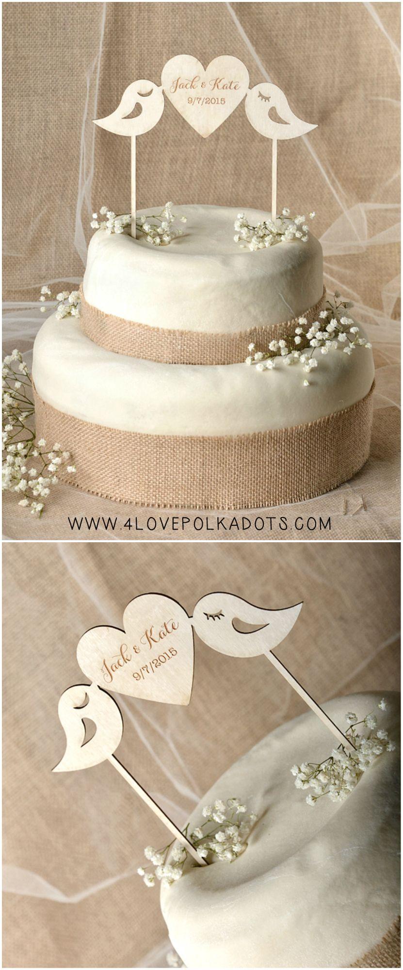 Wooden Wedding Cake Topper With Birds Weddingideas Caketopper Weddingcake Wood Cake Topper Wedding Romantic Wedding Cake Toppers Bird Cake Topper Wedding