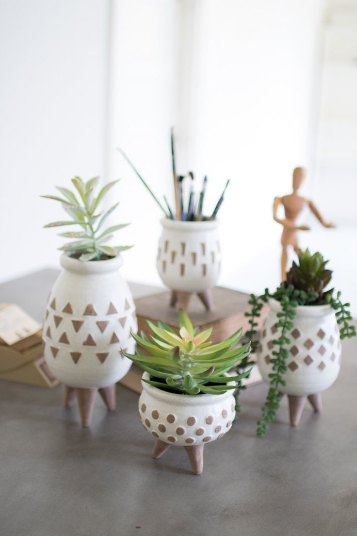 White Brown ceramic vases as mid century style decor for ...