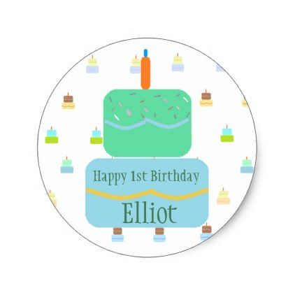 Happy 1st birthday personalized stickers baby gifts giftidea diy unique cute