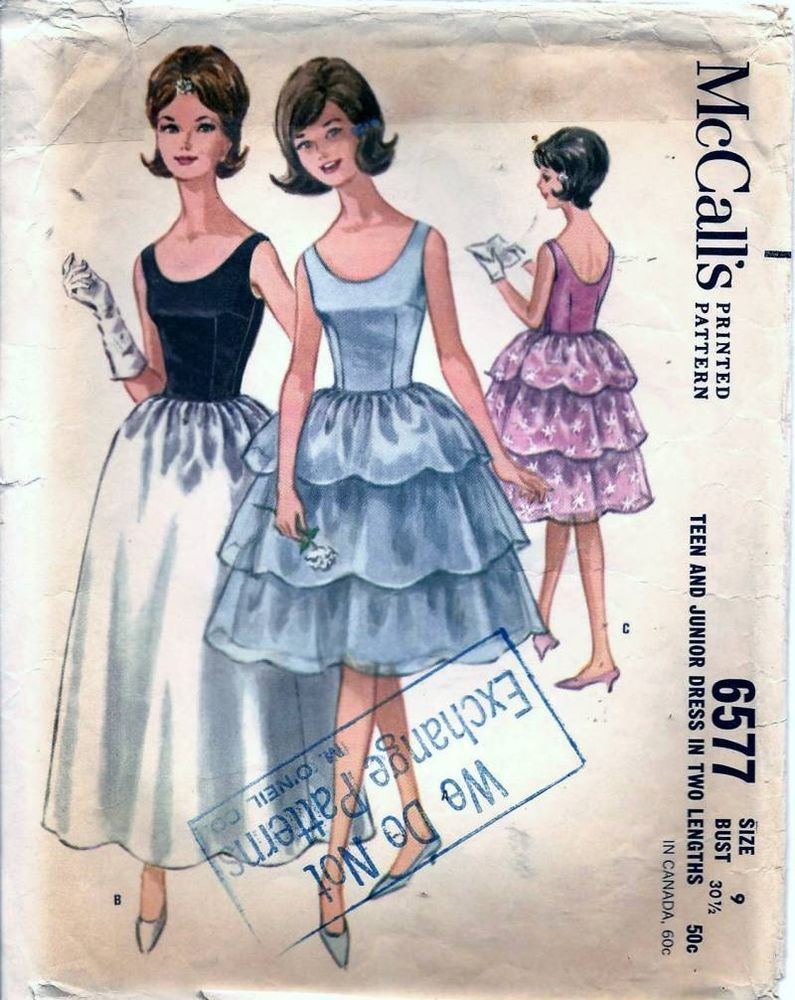 Vintage 60s Sleeveless Evening Dress Prom Gown Sew McCall\'s Pattern ...