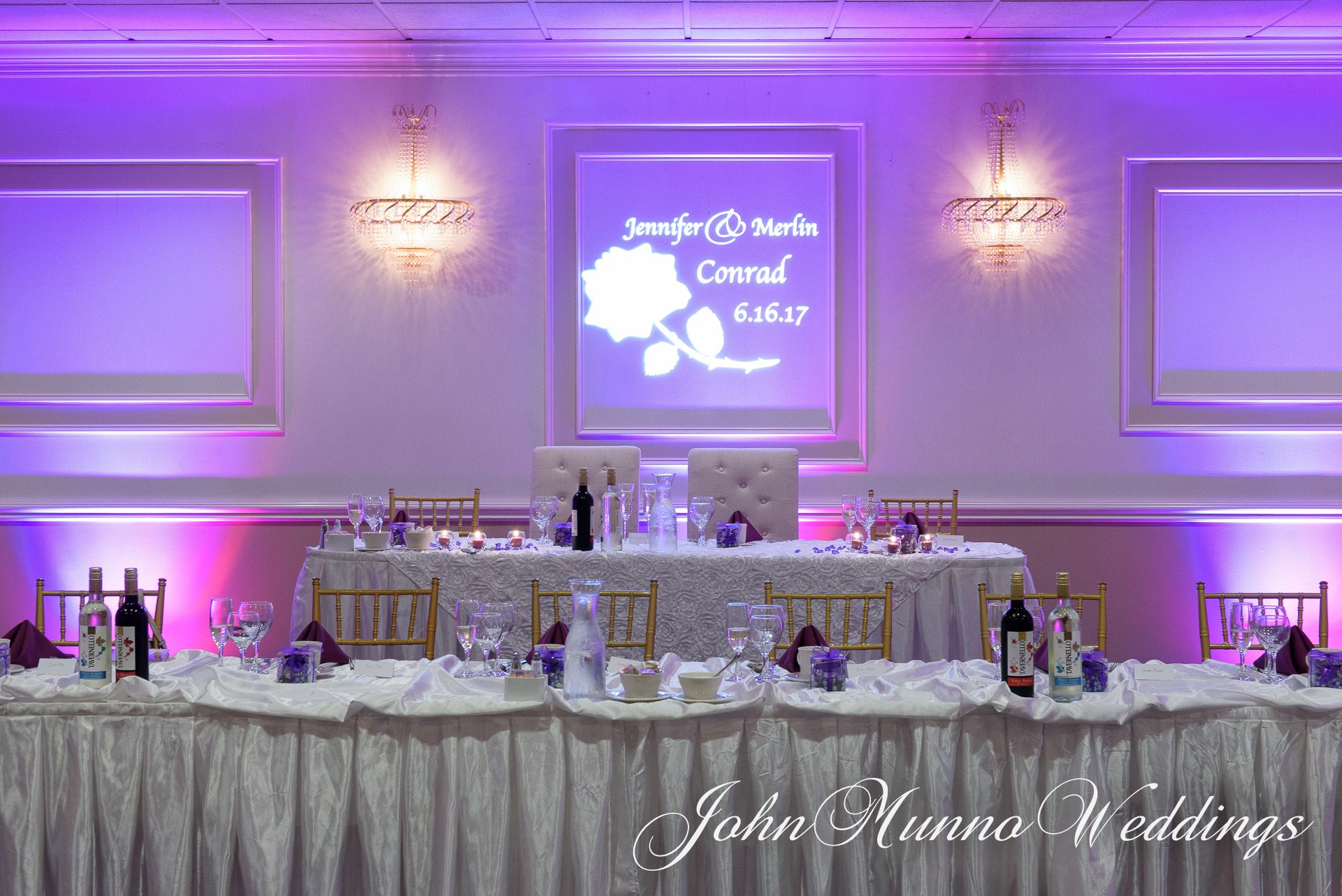Wedding reception decoration ideas with lights  Sweetheart table and reception decor shot at Fantasia wedding venue