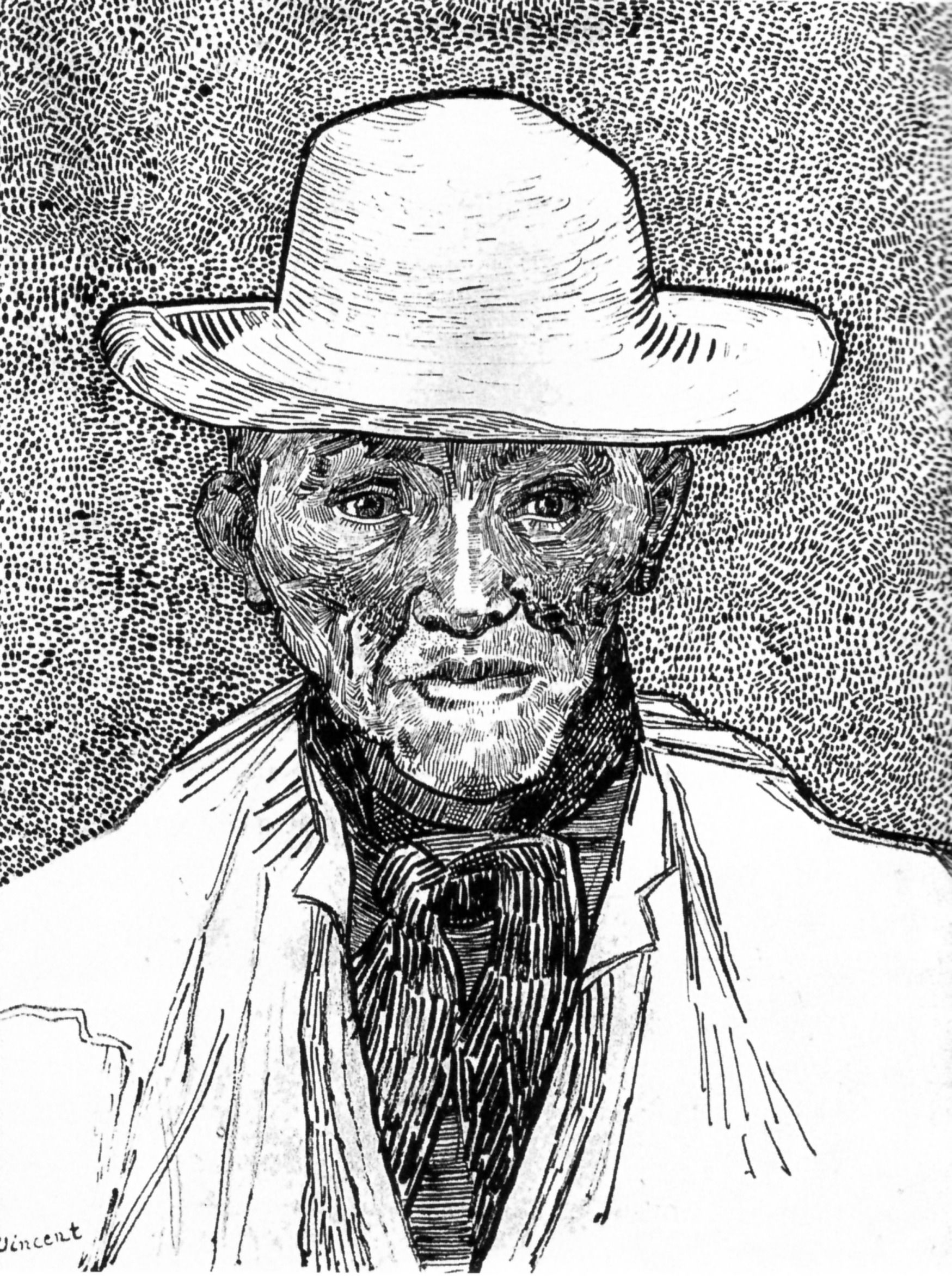 Line Drawing By Vincent Van Gogh : Farmer with straw hat vincent van gogh farm