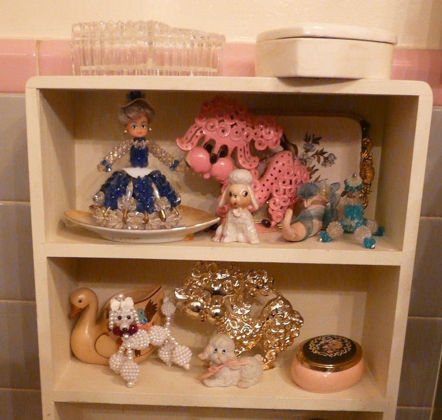 A few little knick knacks from the 50 39 s on a little shelf for Bathroom knick knacks