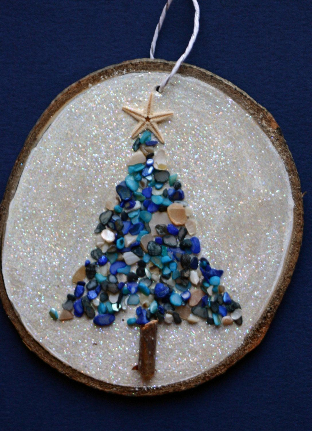 Christmas ornament, wood slice ornament, large birch slice, wall art, beachy, bathroom art, star fish, sea glass, glitter, blue and white by DeborahMcGeeArt on Etsy