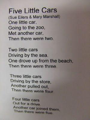 Cars Poem Transportation Theme Preschool School Songs