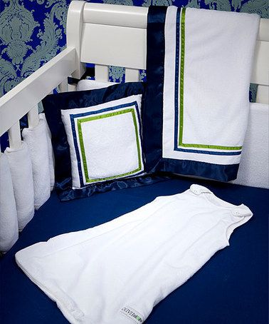Oliver B Navy Green Hotel Collection 6 Piece Crib Bedding Set By