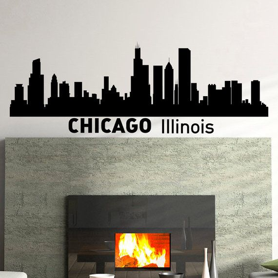 Wall decals vinyl stickers chicago skyline silhouette city wall decal removable wall art decals murals home decor for living room c004